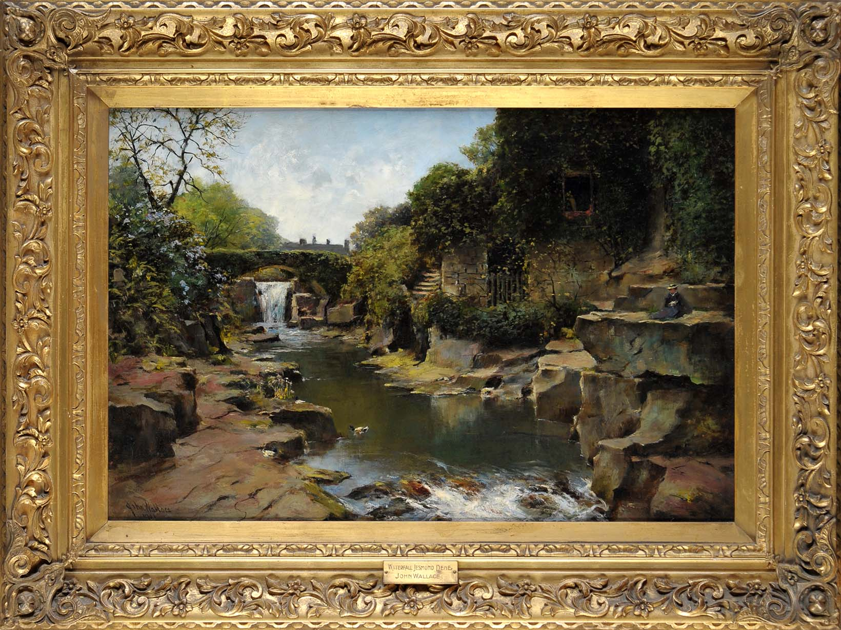 John Wallace (1841-1905) WATERFALL JESMOND DENE signed and dated 1901 oil on canvas 49.5 x 75cms; 19