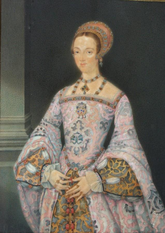 After Lucas De Heere: Portrait of Lady Jane Grey after the Haughton portrait, watercolour in