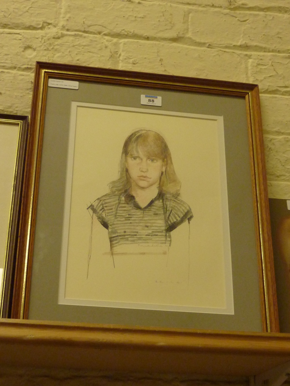 Frank Lisle (1916-1986): 'Erica' - bust portrait, pencil and coloured crayon by Frank Lisle (1916-