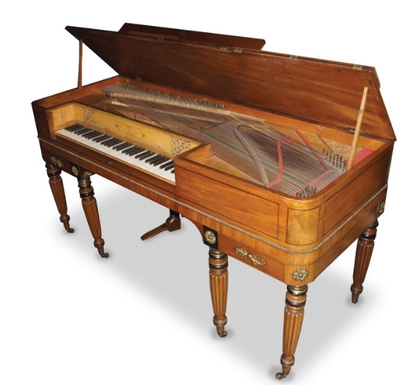 Goulding D'Almaine Potter & Co  A square piano in a mahogany and ebony strung case with two drawers;