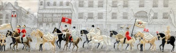 Two Stevengraphs: The Lady Godiva Procession and The Good Old Days Inscribed with titles to mounts