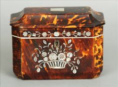 A 19th century tortoiseshell tea caddy Of rectangular form with canted corners, the front panel