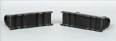 A pair of 19th century coromandel boxes Each of carved book form with a hinged lid. 23 cms wide. (2)