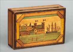 A 19th century French prisoner-of-war straw work box The hinged rectangular lid decorated with a