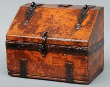 A wrought iron banded stained pine alms box, possibly 17th century Together with an antique steel