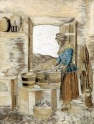 A 19th century silk work picture Worked as a washerwoman in a cottage interior, framed and glazed.