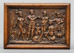 A carved oak panel, possibly late 16th/early 17th century Depicting the Judgement of Paris, in a