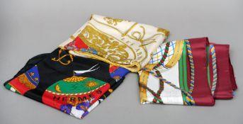 A vintage Hermes silk scarf, Grande Tenue by Henri D'Origny, originally issued 1985 Typically