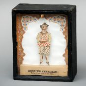 A late 19th century sand box automaton The central coloured figure modelled as a clown above the