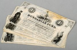 Thirty-six Hungarian Fund (New York Imprint) one dollar bank notes, all 1852 Black and white printed