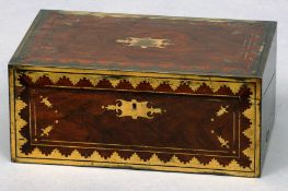An early 19th century brass mounted rosewood travelling secretaire The hinged rectangular top
