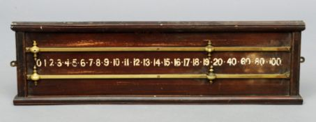 A brass mounted mahogany snooker scoring board The front inscribed Willie Holt, Billiard Table