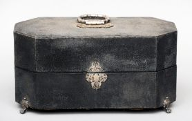 A 19th century white metal mounted tea caddy The exterior covered with shagreen, standing on four