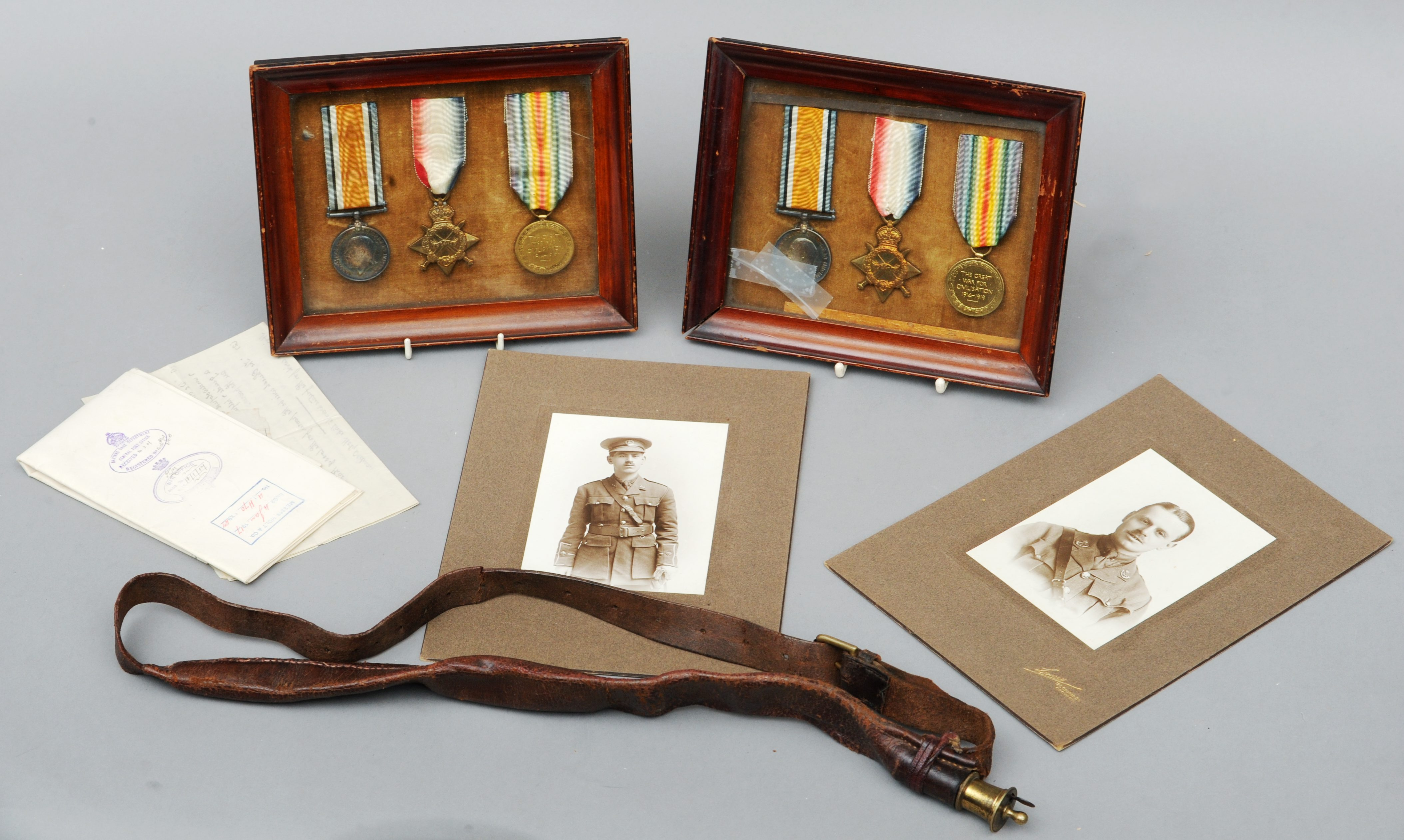 Two Great War Campaign medal groups of three, awarded to brothers Maurice Heyward, 2nd Lieutenant (