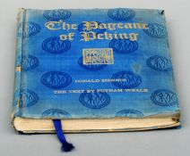 Mennie, Donald. The Pageant of Peking. Published 1920 by A.S. Watson & Co., Shanghai, gilt blue silk