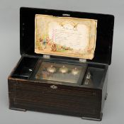 A 19th century Swiss music box With a transfer decorated painted wooden case enclosing the