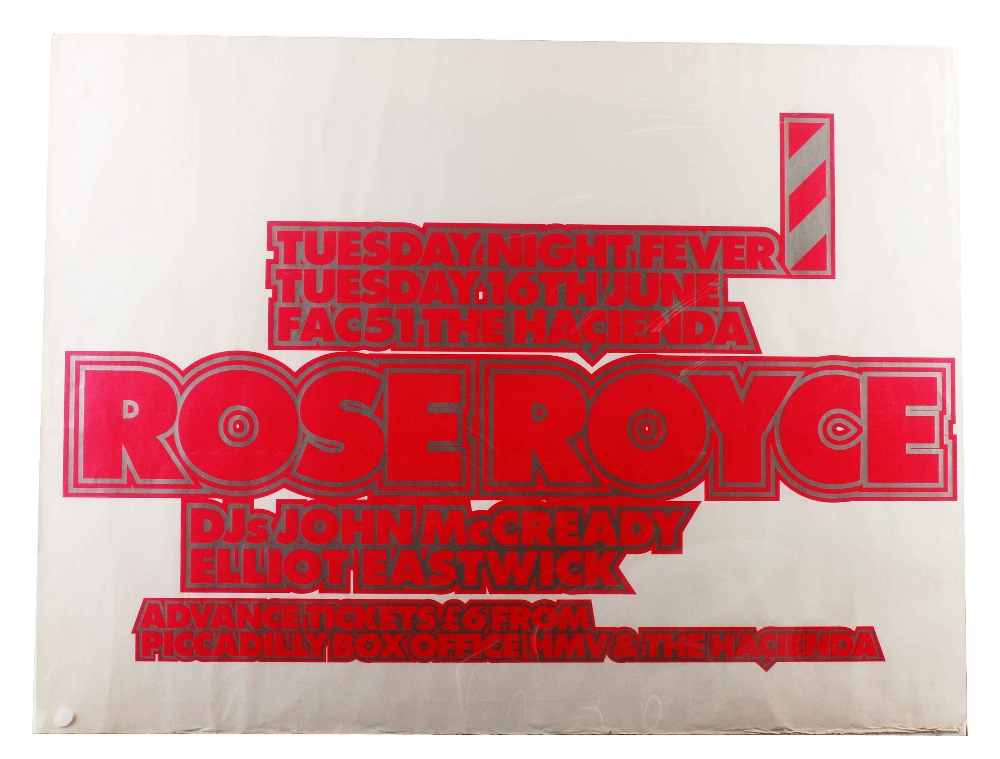Music Posters: Rose Royce, original UK concert poster for The Hacienda Club, Manchester Tuesday 16th
