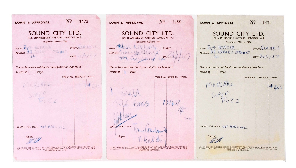 Music Memorabilia: The Jimi Hendrix Experience, collection of original Sound City receipts 1966 -
