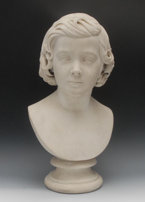 Torello Ambuchi (or Ambucci), by, a Carrara marble bust of a curly haired boy of title, he gazes