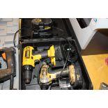 LOT OF DEWALT RECHARGEABLE DRILL & NUT DRIVE, 18 v., w/(2) charging stations & batteries, DeWalt