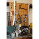 LOT OF MISC. SHOP TOOLS, including: Spirit levels, T squares, tin snips, safety harnesses, etc. (