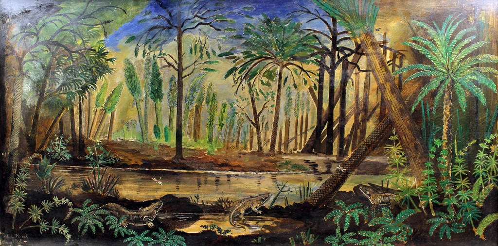 Carboniferous Diorama - An acrylic painting of a Carboniferous scene, commissioned by Gregory,
