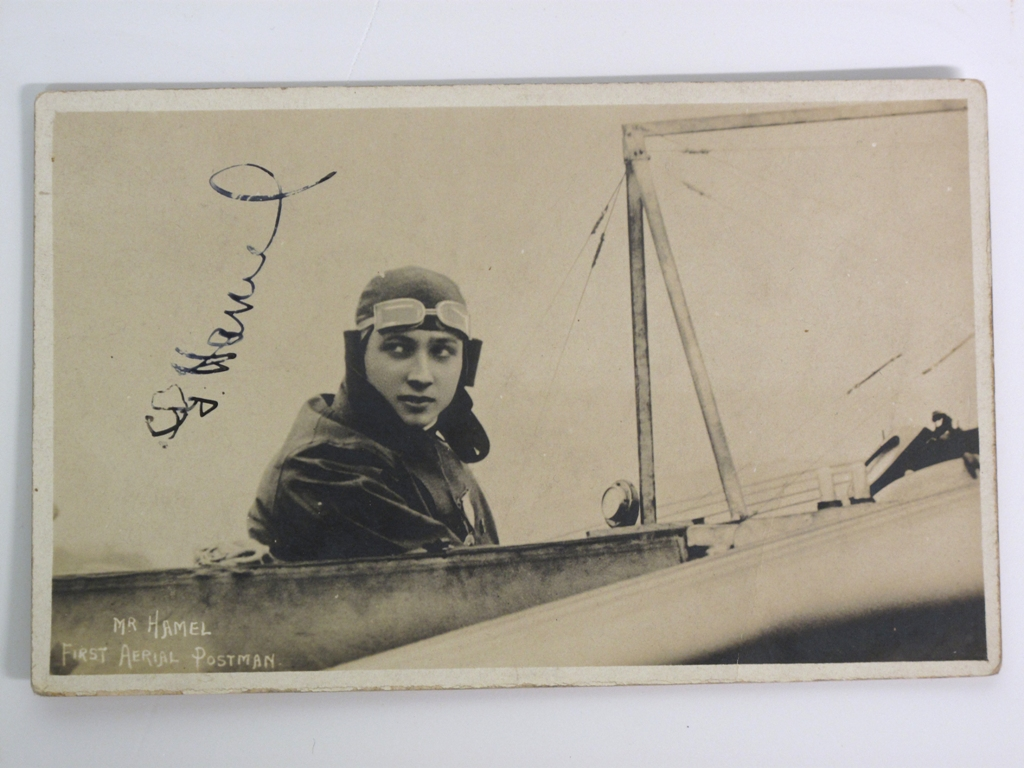 Aviation Pioneer Gustav Hamel autographed postcard, signature is in ink. The card is titled Mr
