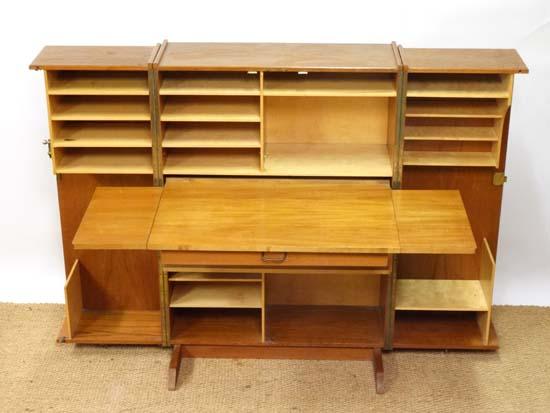 Vintage Retro : an English designed 1960's Newcraft Ltd Teak Folding Home Office / Desk , with large