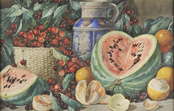 "Lot 11 - *Dudley (Arthur, ""Giovanni Barbaro"", active c.1890-1907). Still life with oranges, watermelon,"