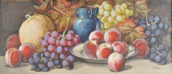 """Lot 12 - *Dudley (Arthur, """"Giovanni Barbaro"""", active c.1890-1907). Two still lifes of melons, peaches,"""