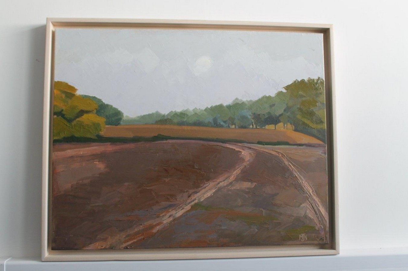 The Plough - an oil painting by Suffolk artist Maxine Northwood. This mounted canvas oil painting is