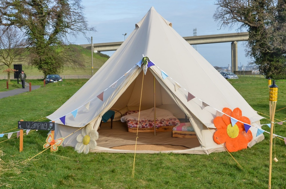 Glamping Experience.   Beautifully furnished glamping bell tent, supplied by Events Under Canvas