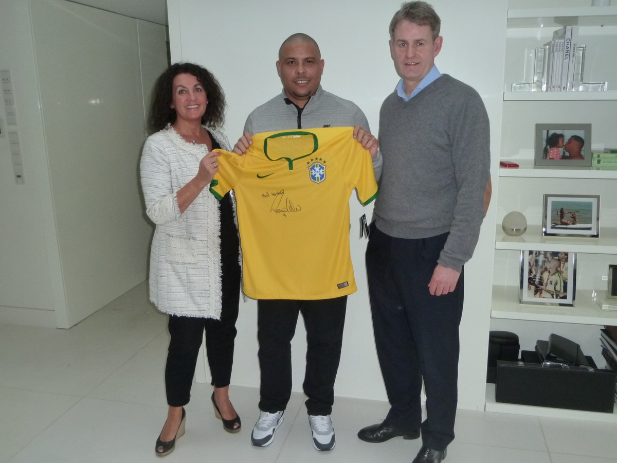 Personal donation from Ronaldo. Ronaldo signed Brazil shirt - Signed earlier this year by the