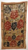 Two silk and gilt thread worked Ottoman divan cushion covers One worked with script and a pair of
