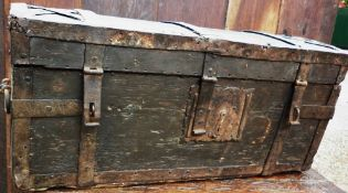 An early 18th century Scandinavian travelling trunk With domed top and iron strapwork.  70.5 cms