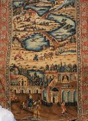 A Persian decorated wall hanging Worked with figures in traditional pursuits within an extensive
