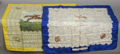 """A Derby silk scarf """"1948 My Love"""" Together with another.  90 cms wide.  (2)  Provenance:  The"""