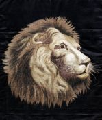 A 19th century Japanese silkwork picture Worked with the head of a lion, framed and glazed.  67 x 77
