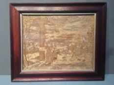 A 19th century silk work picture Depicting figures on a terrace, framed and glazed.  35 x 27.5 cms.