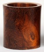 A 19th century Chinese carved hardwood brush pot Of cylindrical section.  16 cms high.   CONDITION