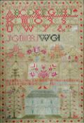 An early 19th century sampler by Isabella Glass, her work aged 14 years, 1831 Worked with