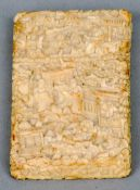 A 19th century Cantonese carved ivory card case Of small proportions, decorated all over with