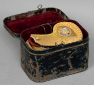 A pair of 19th century Royal Naval Reserve epaulettes Housed in their original tole ware carrying