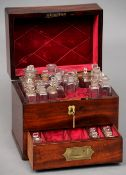An early 19th century mahogany cased apothecary box The hinged rectangular top with recessed