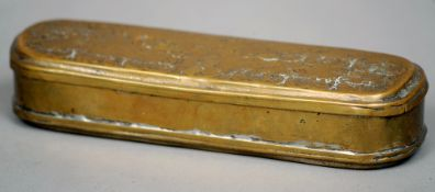 An 18th century Dutch brass tobacco box Of typical hinged oval form, the base and lid both similarly