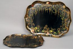 Two Victorian Jennens & Bettridge painted papier mache trays Each of serpentine rectangular form and