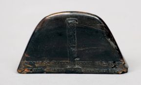 A 19th century French pressed horn snuff box Modelled as a bicorn hat, the hinged lid depicting