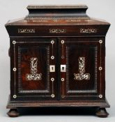 A Regency mother-of-pearl inlaid rosewood table top work box The interior with various fitted