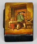 A 19th century papier mache snuff box The hinged rectangular lid decorated with a gentleman, a