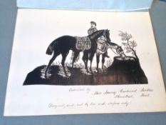 MISS FANNY HASLEWOOD PARKES (19th century) British Three cut out silhouettes depicting a hunter, a